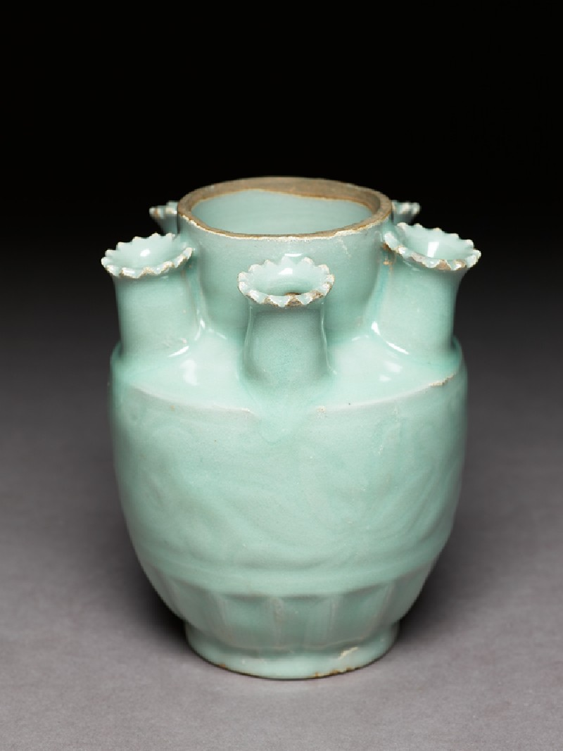 Greenware funerary jar with spouts for holding incense