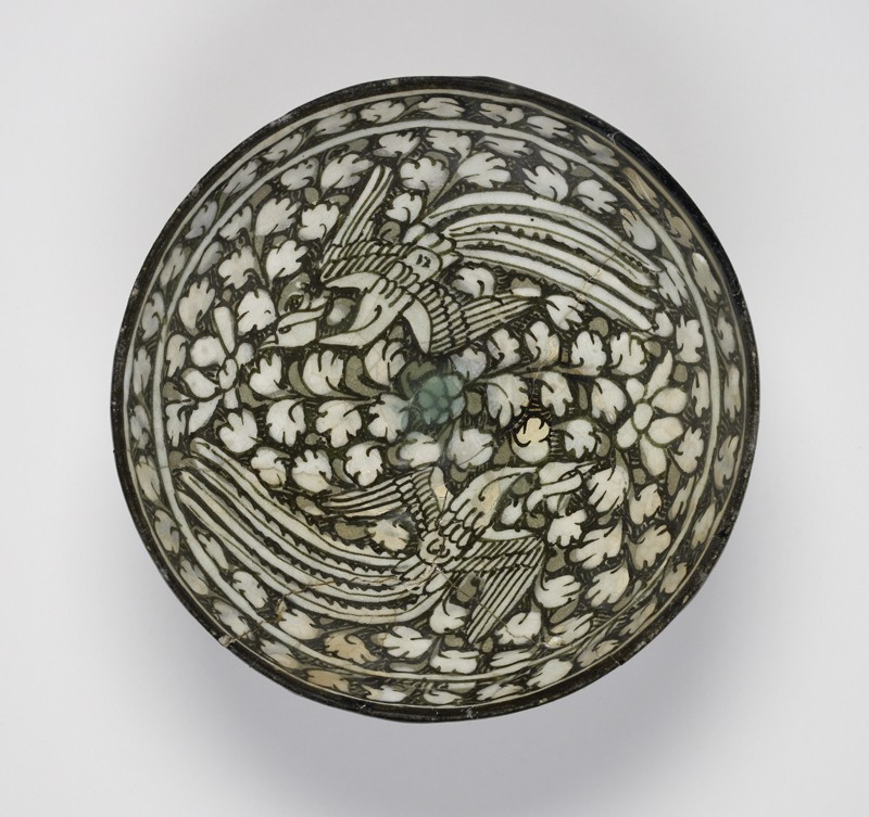 Bowl with flying phoenixes against a foliate background (EA1956.59, top           )
