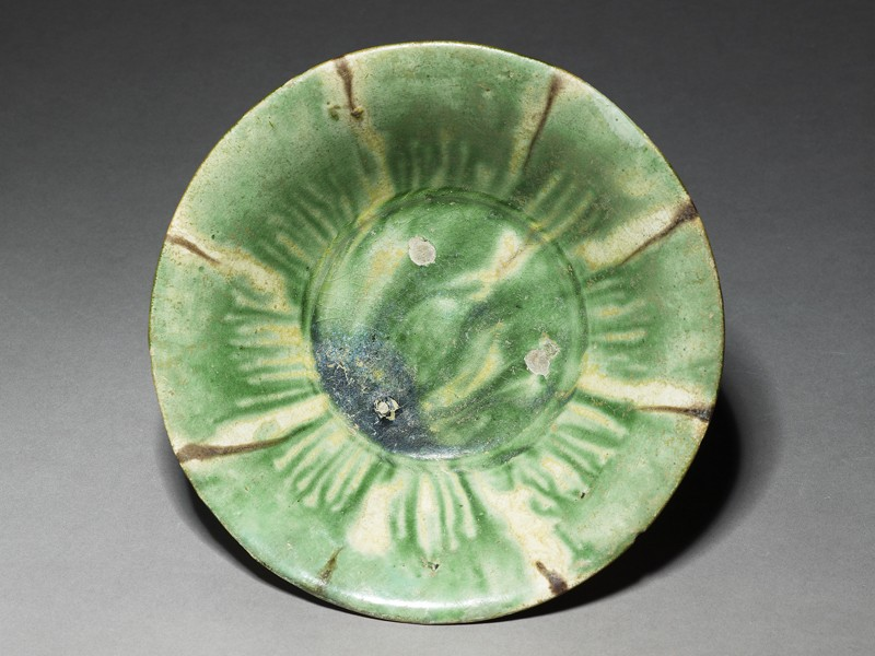 Bowl with splashed decoration in green and brown (EA1956.62, top           )