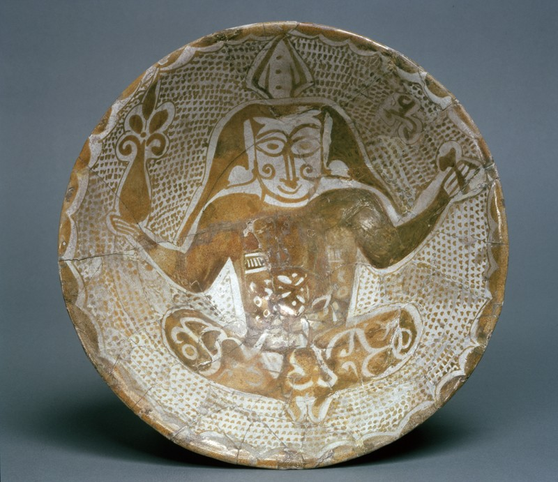 Bowl with seated figure (top           )
