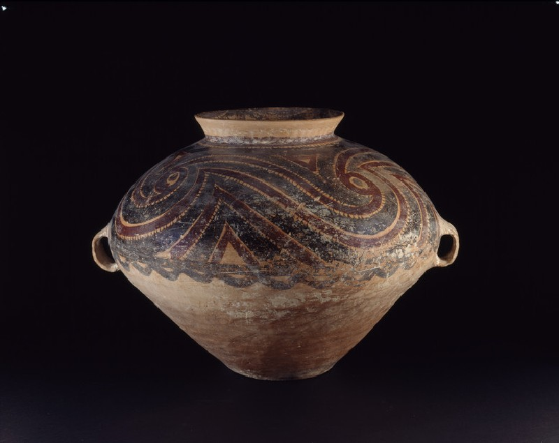 Burial urn with red and black swirls (EA1956.847, oblique            )