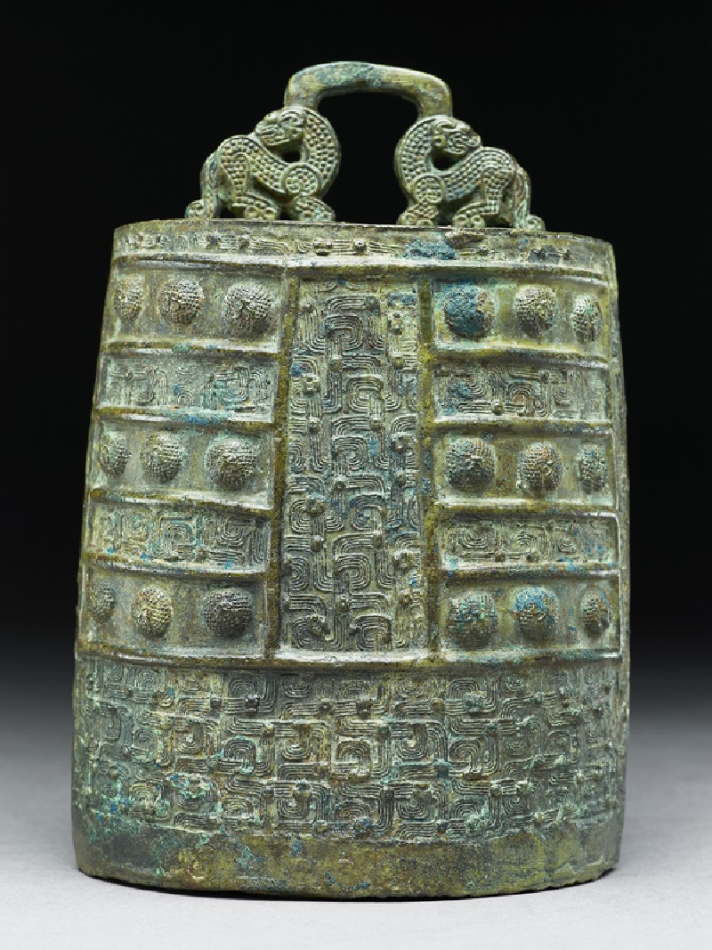 Ritual bell, or bo zhong, with interlace and two dragons (side            )