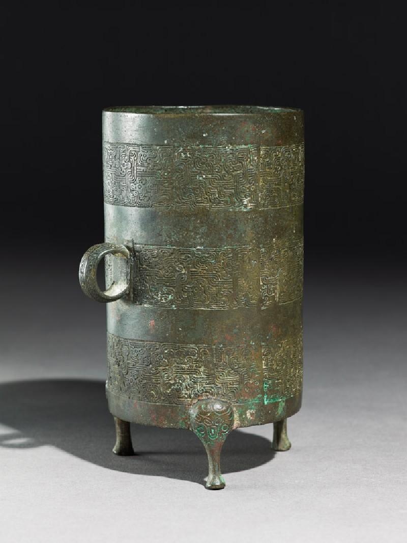 Ritual liquid vessel, or zun, with zoomorphic interlace (oblique            )