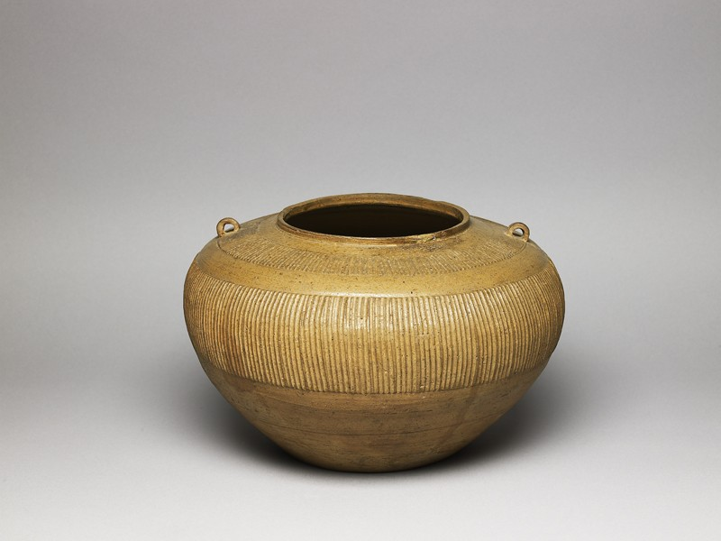 Greenware jar with ribbed decoration