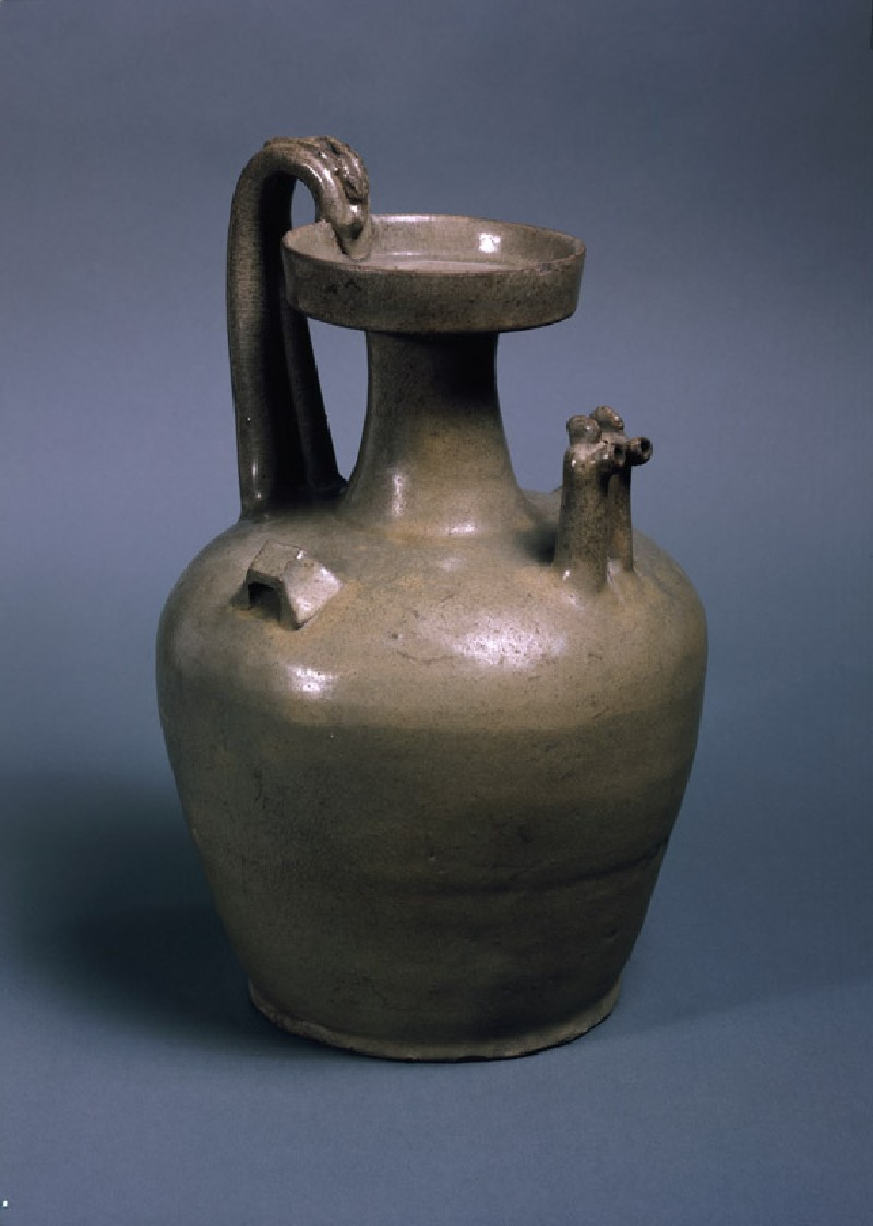 Greenware ewer with two chicken head spouts (oblique            )