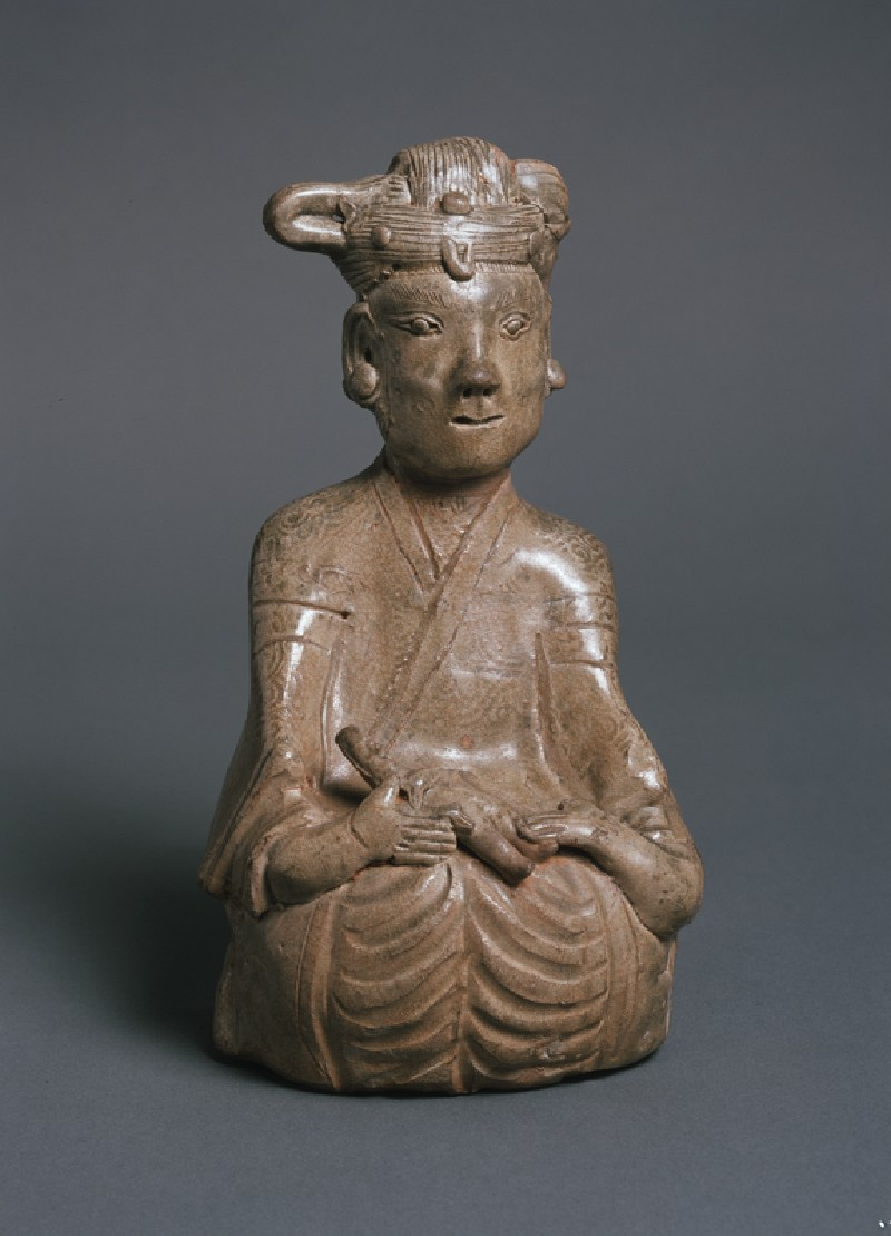 Greenware burial figure of woman and child (front            )
