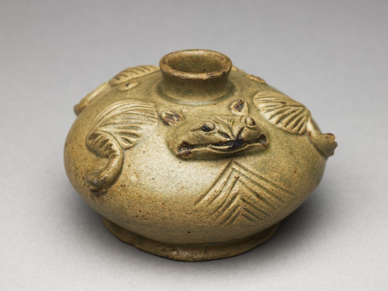 Greenware water pot in the form of a frog