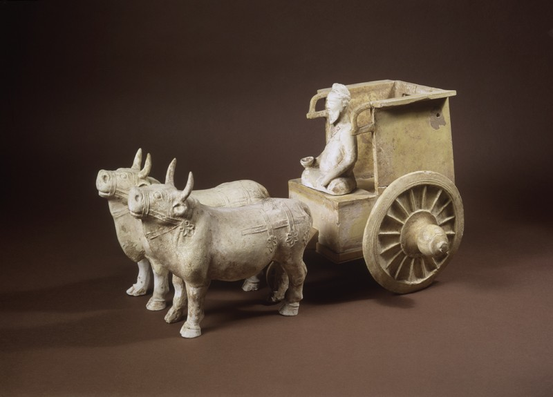 Earthenware model of oxen and cart (oblique             )