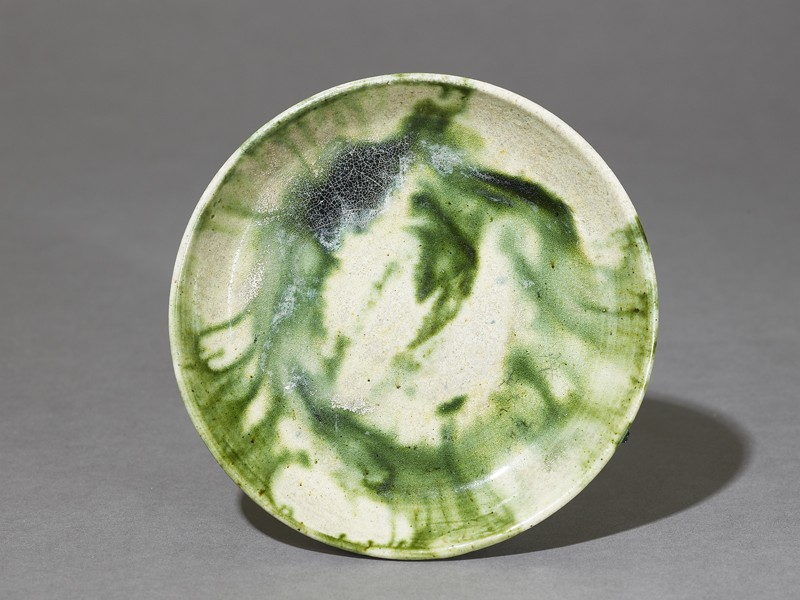 Saucer with splashed decoration in green (top             )