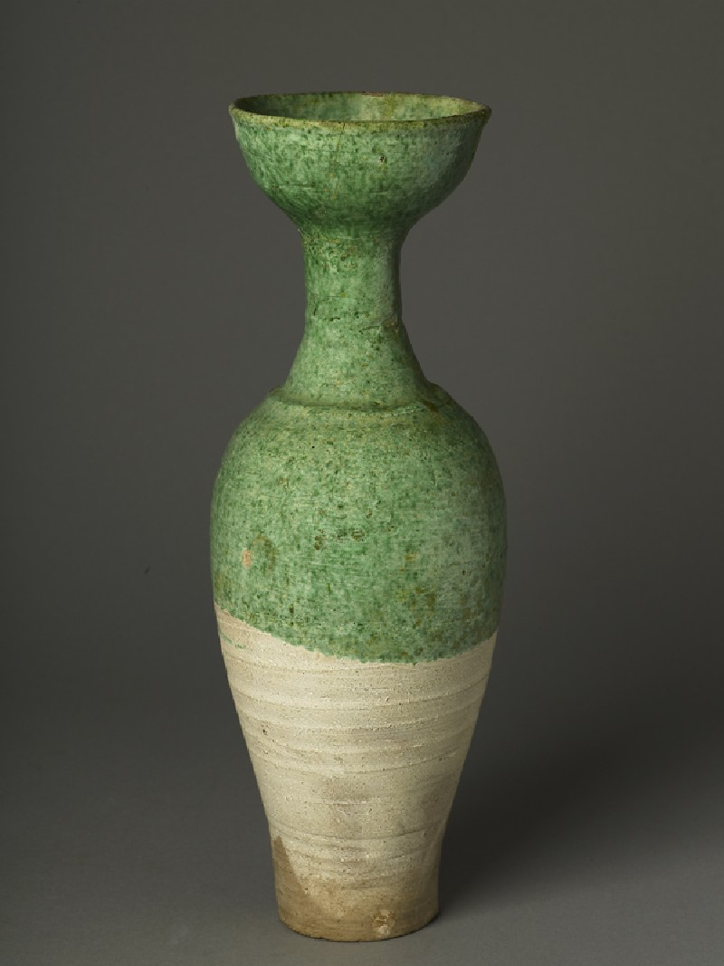 Long-necked vase with green glaze