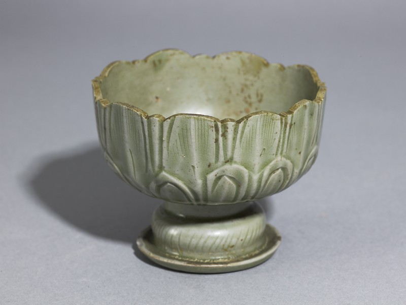 Greenware stem cup with lotus petals (EA1956.1205, oblique             )