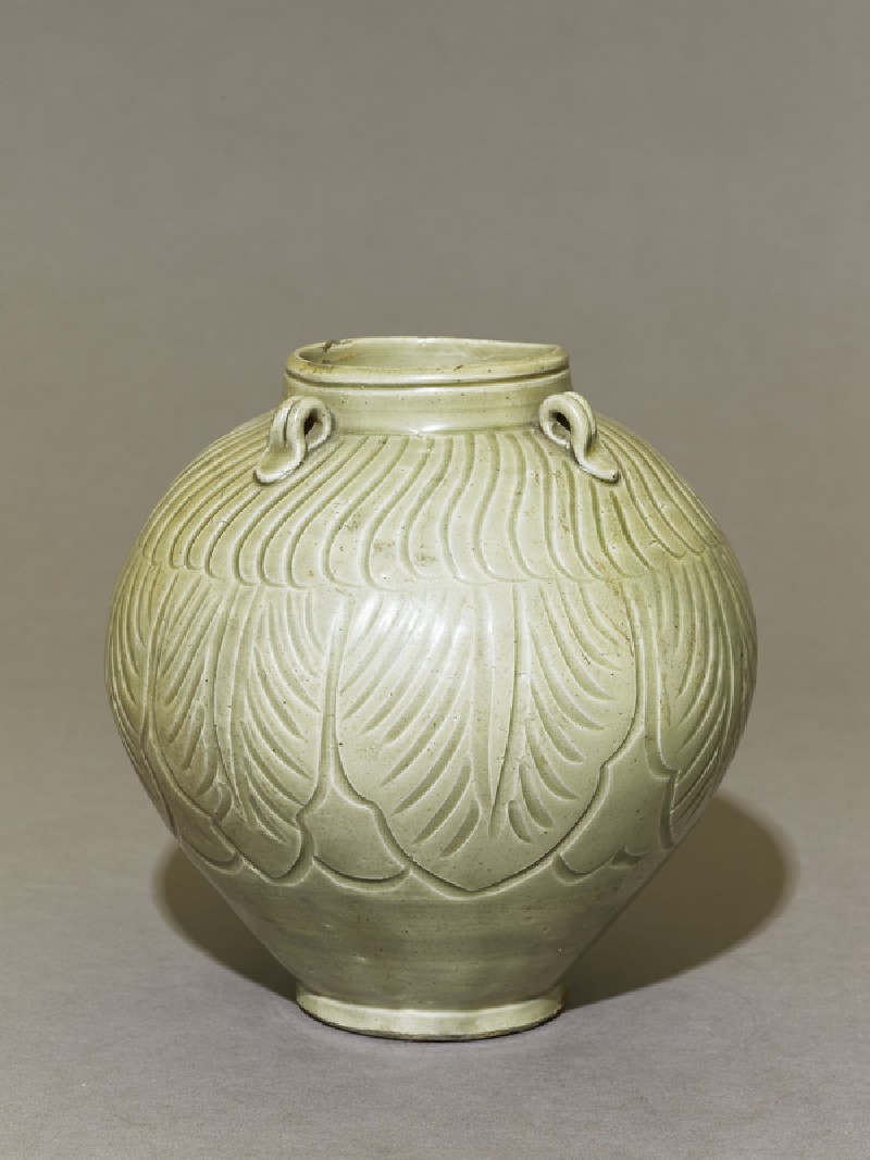 Greenware jar with lotus leaves (EA1956.1214, oblique             )