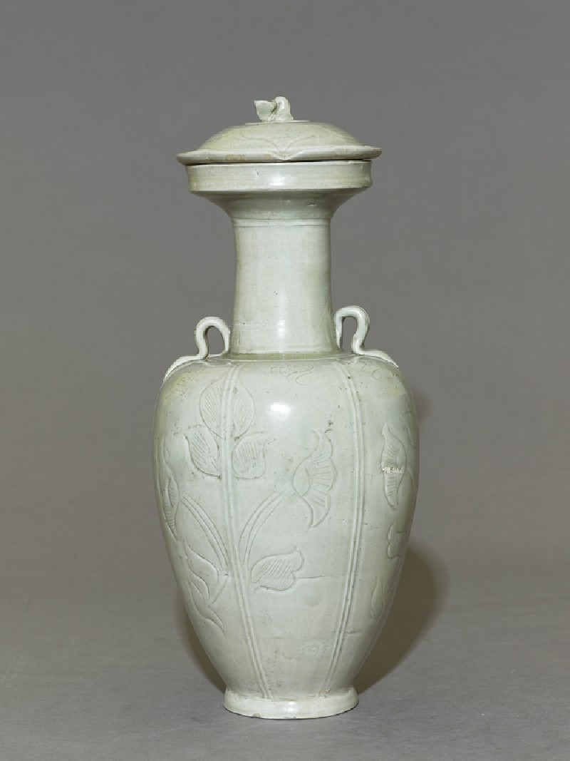 Greenware vase with floral decoration (EA1956.1221, side             )