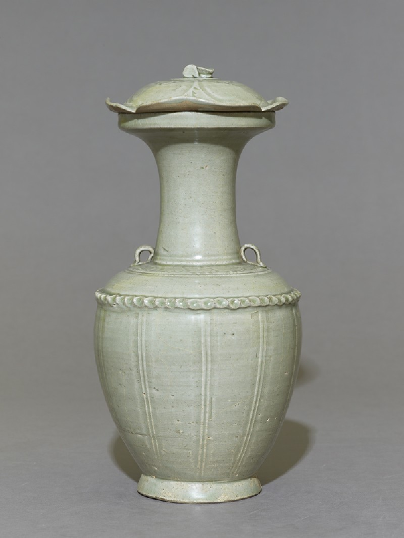 Greenware vase with flower-shaped lid (EA1956.1225, side             )