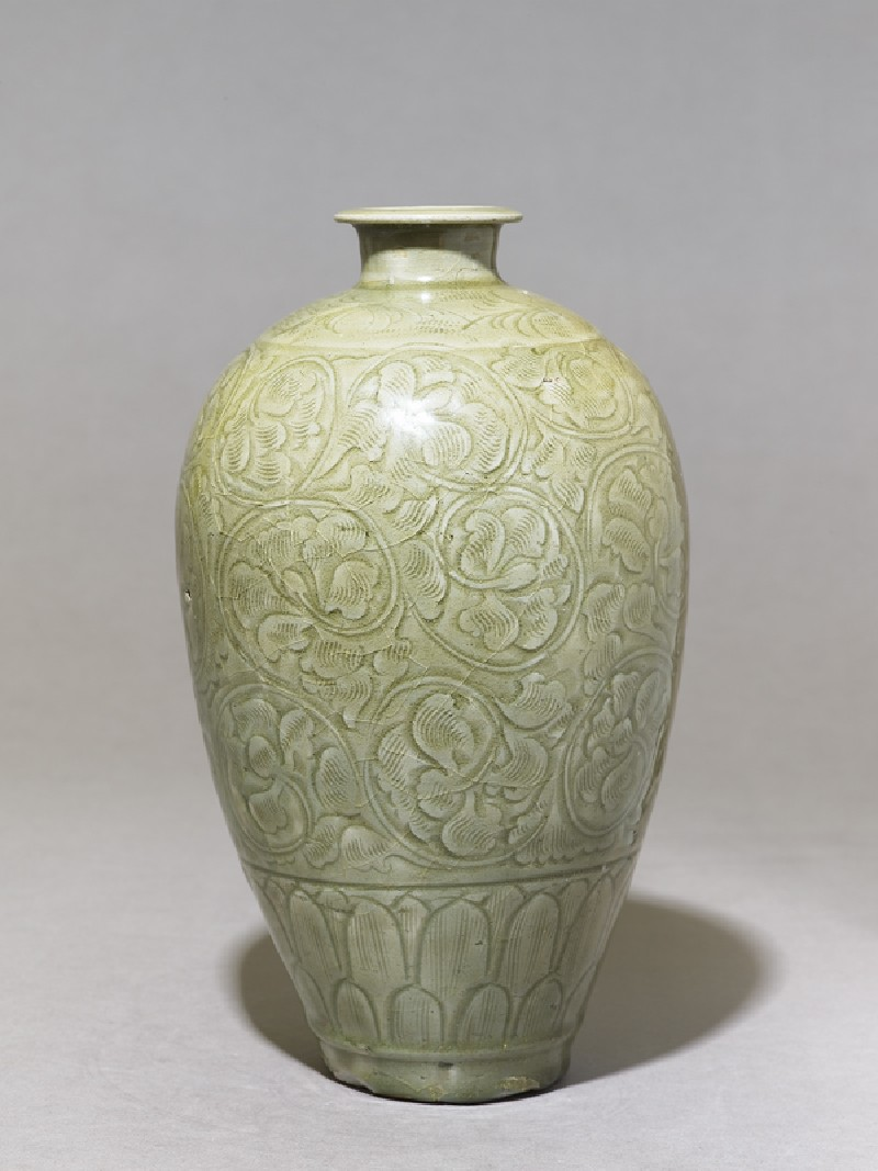 Greenware meiping, or plum blossom, vase with peony scroll decoration (EA1956.1251, side             )