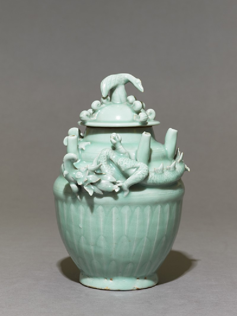 Greenware funerary jar with dragon (EA1956.1273, side             )