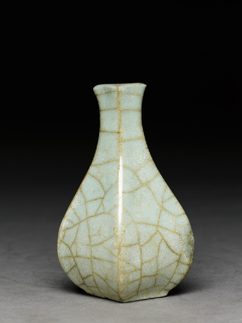 Greenware vase in the style of Guan ware (side             )