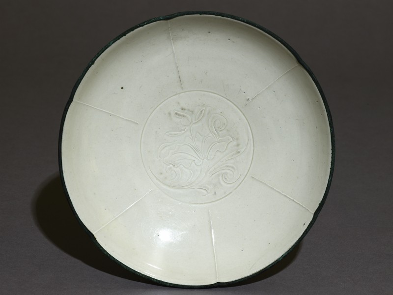 White ware bowl with lotus design