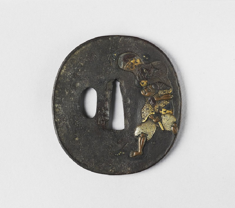 Round tsuba with Kiyohime and the monk