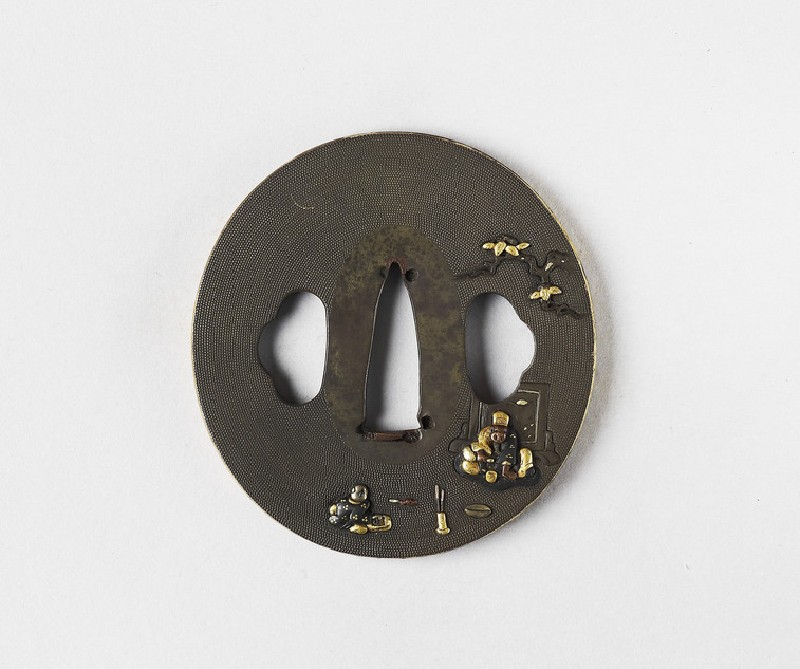 Round oblong tsuba with two figures seated under a tree