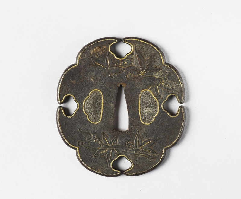 Mokkō-shaped tsuba with leaves floating in water