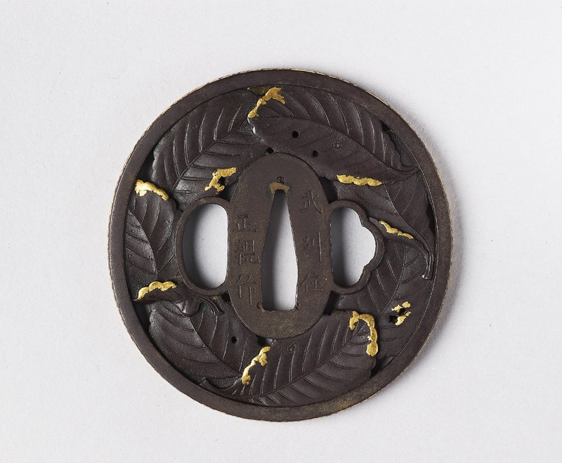 Tsuba with persimmon leaves