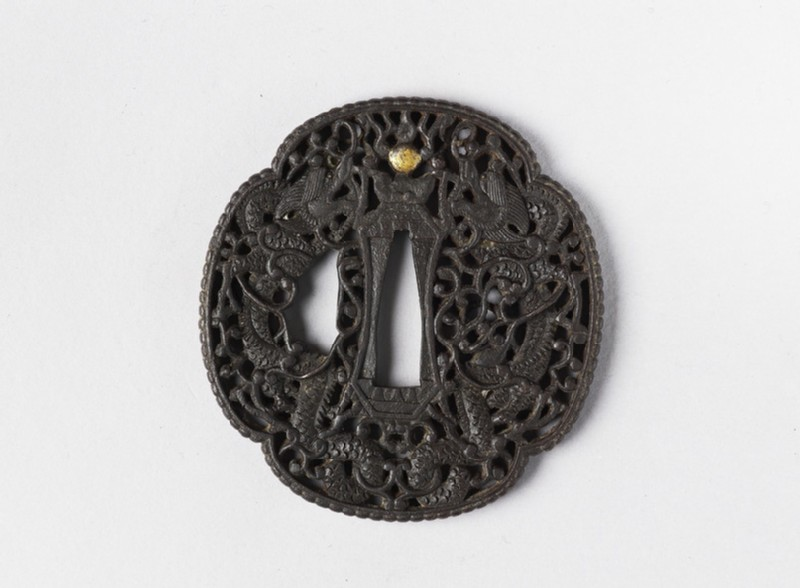 Mokkō-shaped tsuba with dragons entwined with tendrils (EA1956.2674, front             )