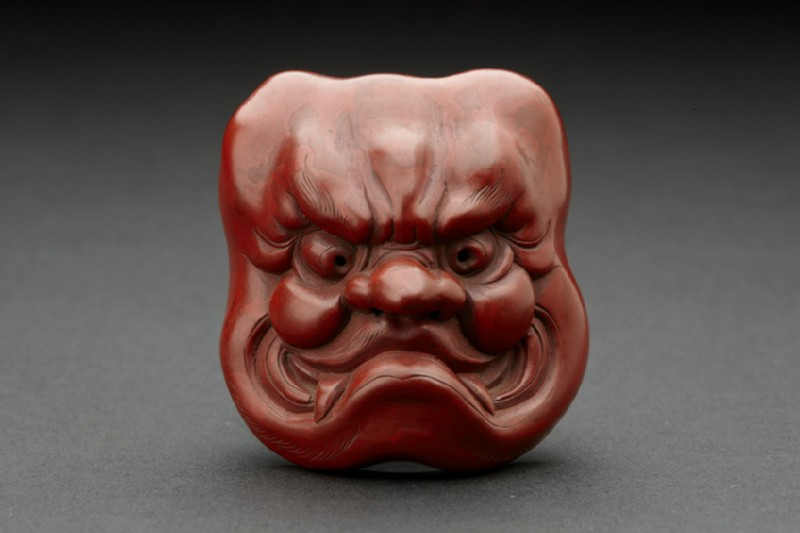 Red lacquer mask of Ō-Beshimi (EA1956.3227)