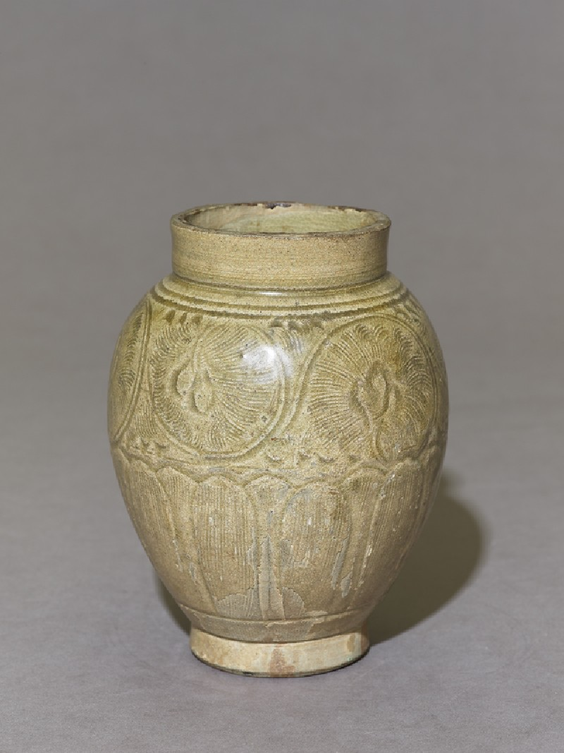 Greenware jar with lotus petals and peony scroll decoration (EA1956.3927, oblique             )