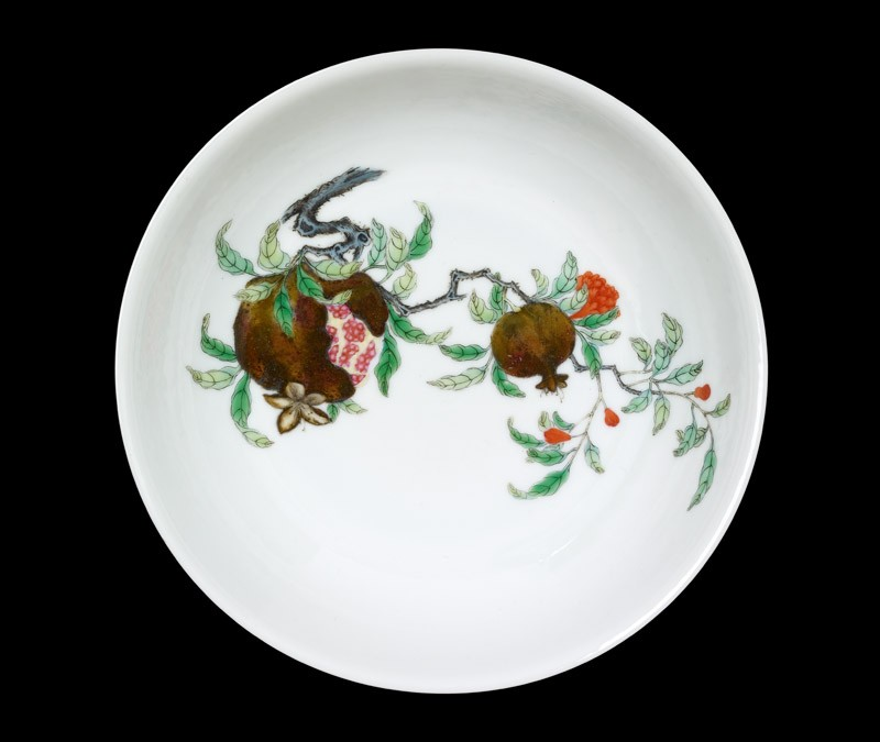 Bowl with a pomegranate spray, plum blossoms, and bamboo