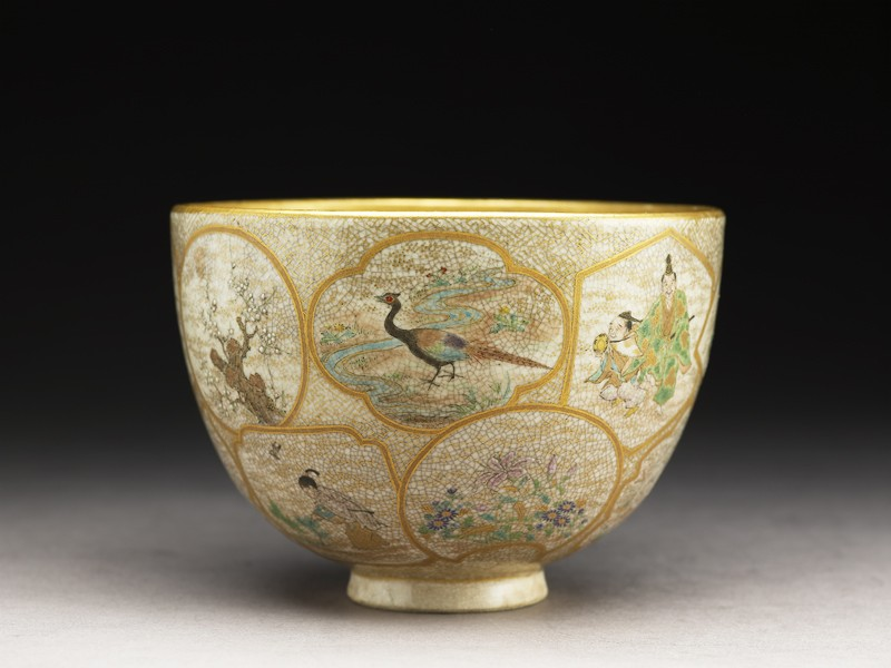 Satsuma tea bowl with animals, plants, and figures (EA1956.3987, side             )