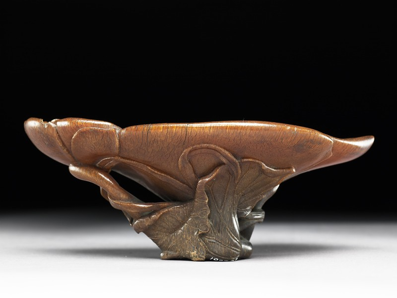 Rhinoceros horn libation cup in the form of a lotus
