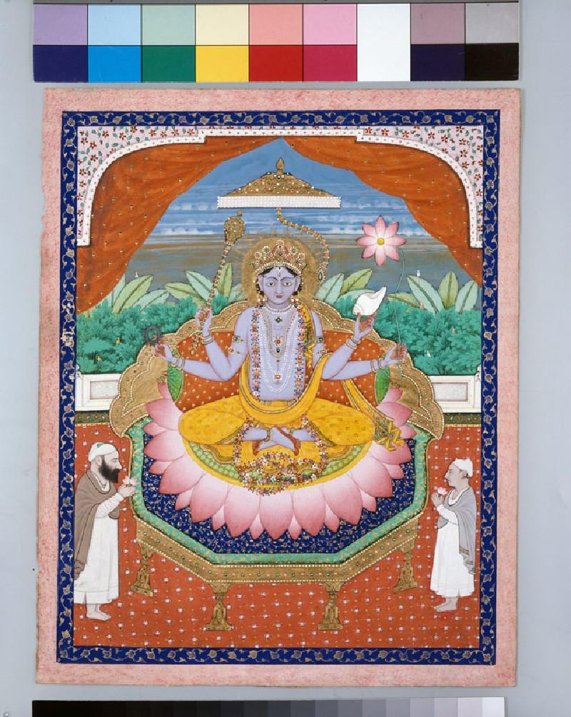 Vishnu on a lotus petal throne (EA1958.117, front            )