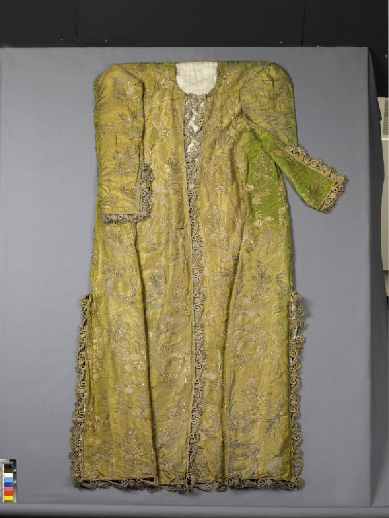 Ceremonial court dress with flowering plants, probably a wedding gown