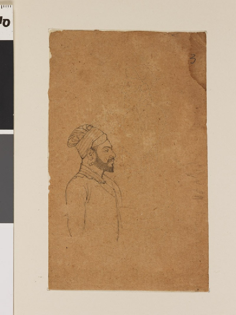Bearded man with superimposed seated figure (front              )