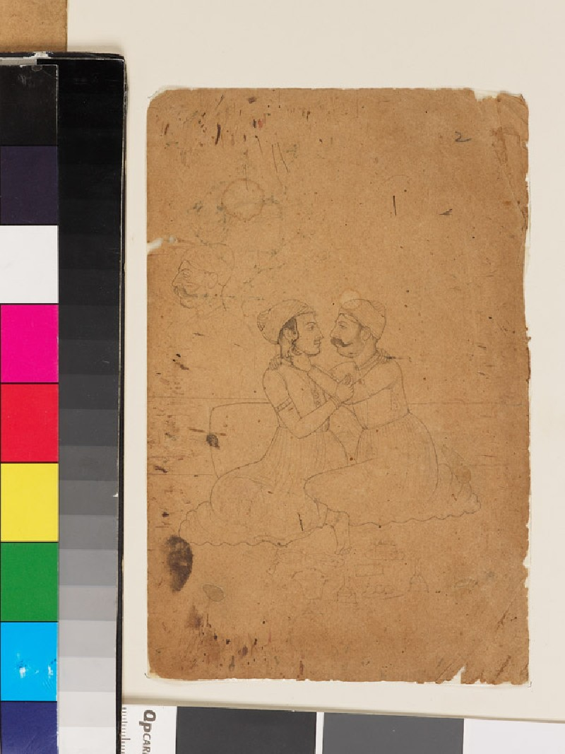 Recto: Two seated men adjusting turbans