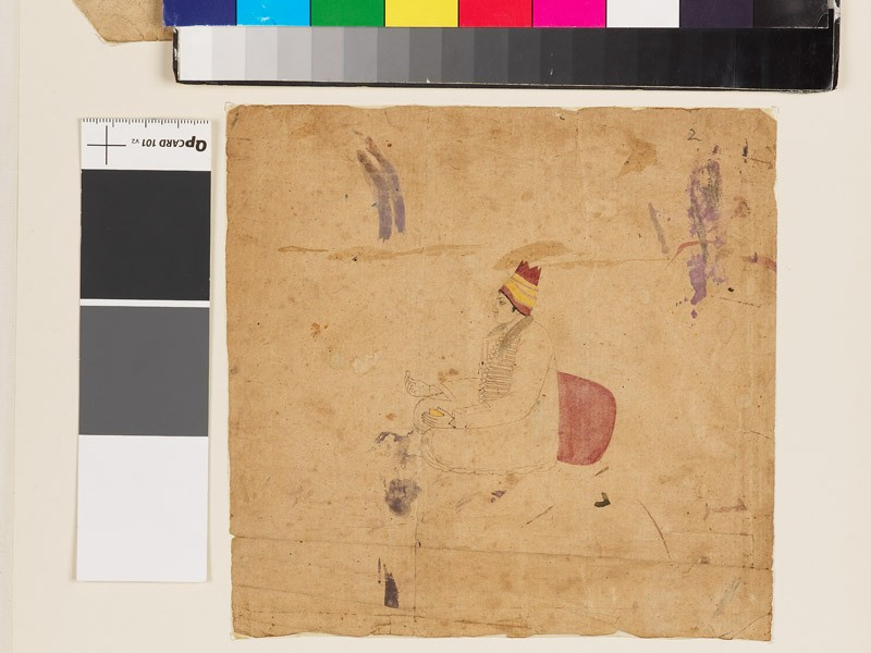 Seated man wearing a red and yellow headdress (EA1960.178.b, front              )