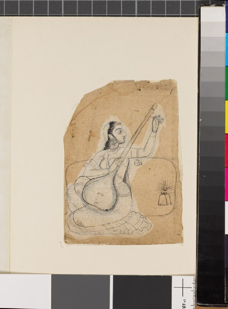 Seated woman with a stringed instrument (front              )