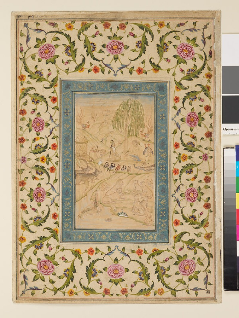 Page from a dispersed muraqqa', or album, depicting Layla visiting Majnun in the wilderness, with Persian verses in nasta'liq script on the reverse (front            )