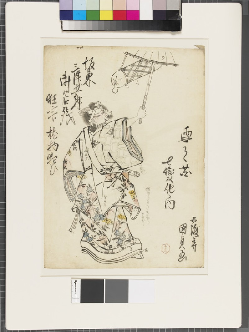 Shita-e (under-drawing for a woodblock print) (front              )