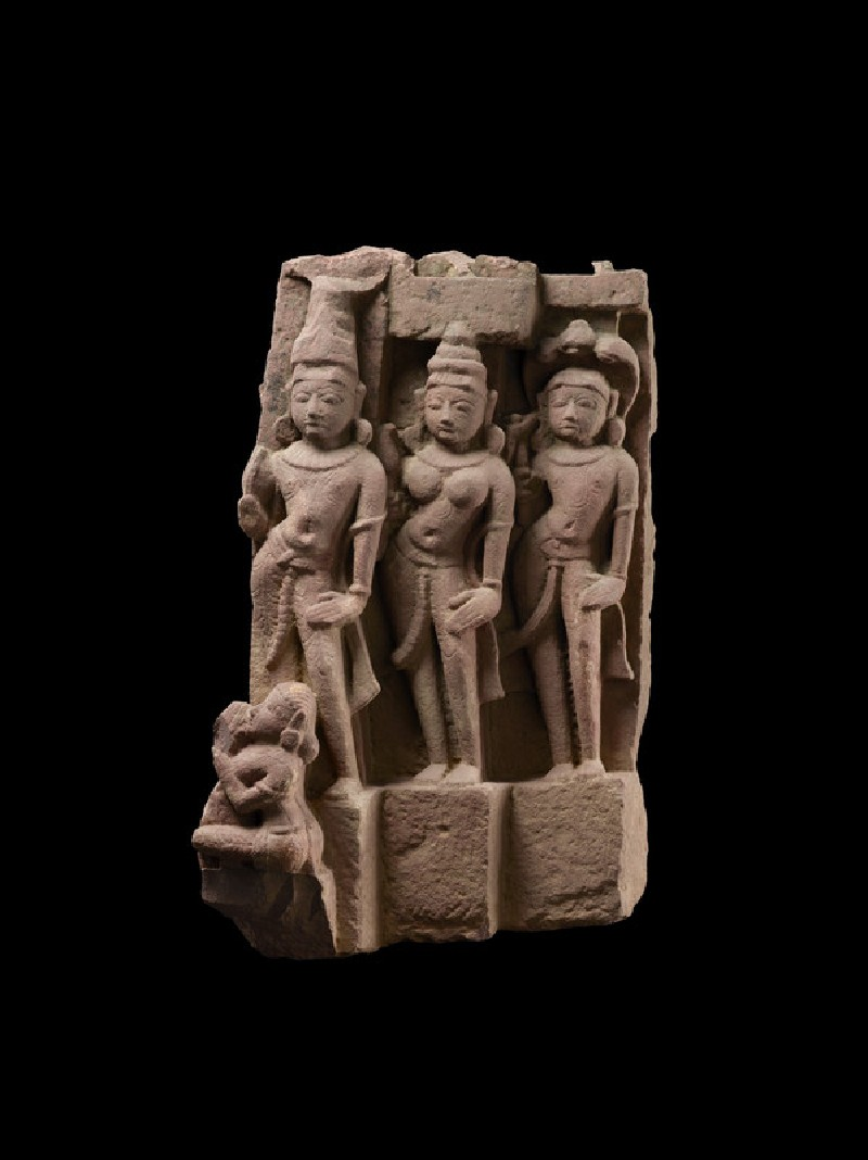 Fragment of a donor group possibly depicting Vasudeva, Subhadra, and Balarama (EA1961.168)