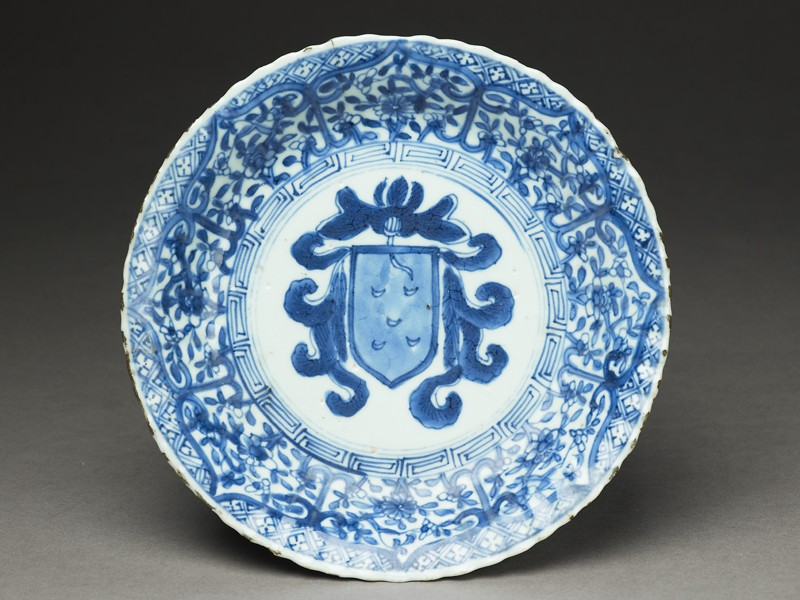 Blue-and-white dish with the Portuguese arms of Pinto (EA1962.100, top            )