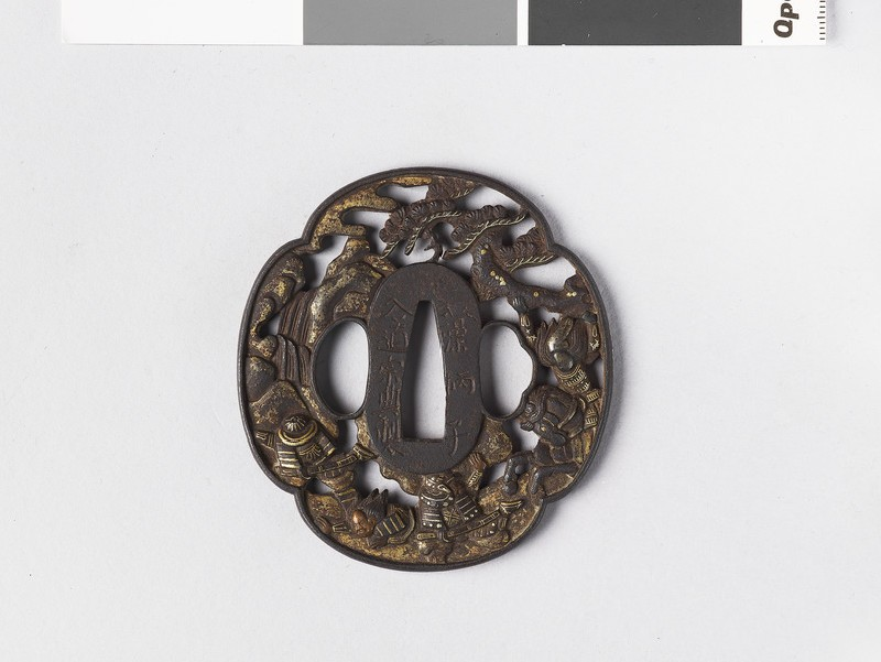 Mokkō-shaped tsuba with design of samurai under pine trees and waterfall