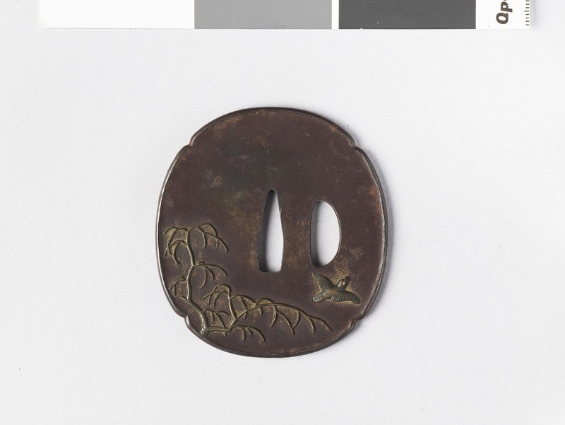 Mokkō-shaped tsuba with design of birds on a willow tree