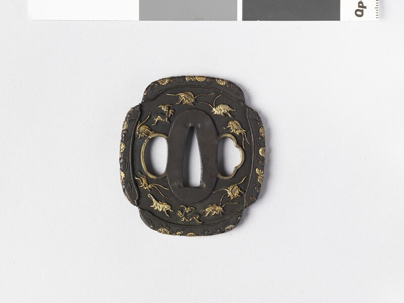 Mokkō-shaped tsuba with design of insects and flowers (EA1962.175, front            )