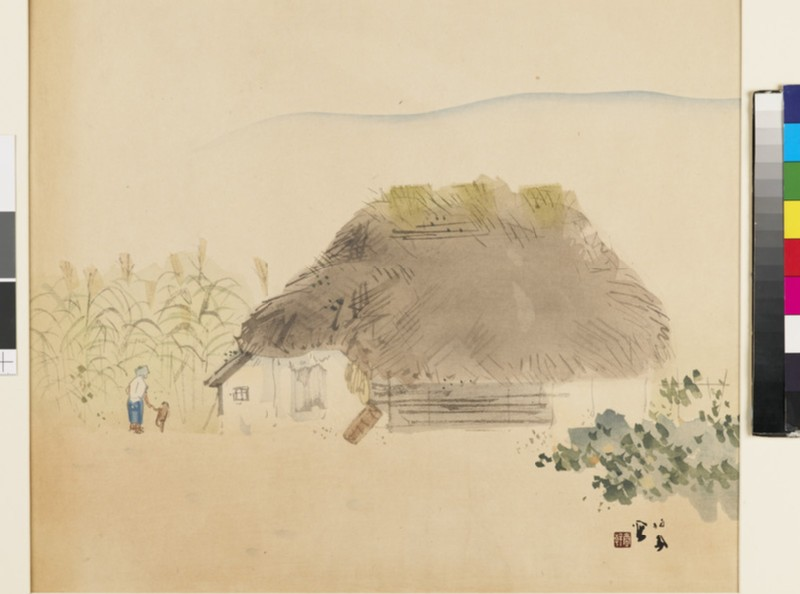 Woman and child outside thatched house (EA1963.56, front           )