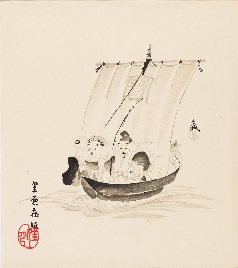 The gods Daikoku and Ebisu on a takarabune, or treasure ship
