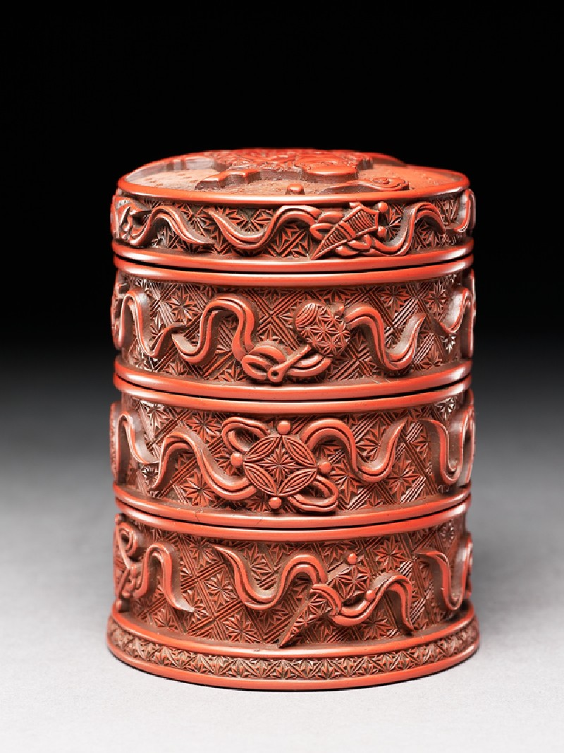 Lacquered box with auspicious symbols (EA1964.170, oblique            )