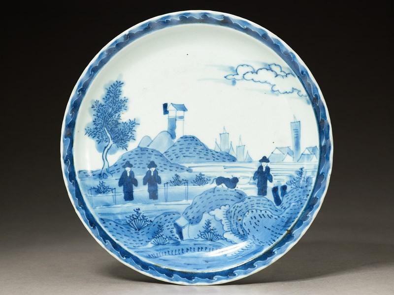 Plate with 'Deshima Island' theme (EA1964.40, top           )