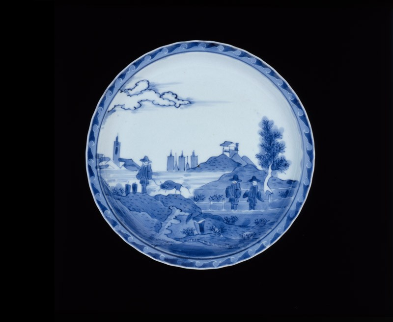 Plate with 'Deshima Island' theme (EA1964.42, top           )